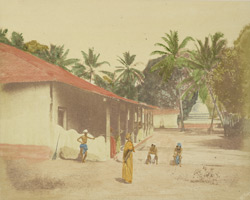 Dwelling of Buddhist priests, Ceylon.